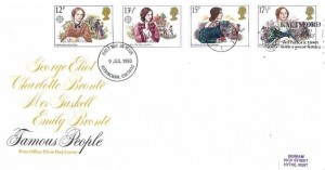 1980 Famous People, Post Office FDC, Knutsford Mrs Gaskell's Cranford An Historic Town with a Great Future Slogan Altrincham Cheshire