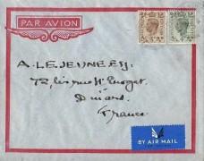1938 King George VI 4d & 5d Definitive Issue, Air Mail Cover, Kensington W8 cds