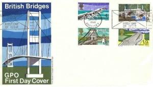 1968 British Bridges, GPO FDC, Menai Bridge Anglesey First Day of Issue Slogan