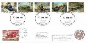 1985 Famous Trains, Llanberis Lake Railway FDC, Caernarfon Gwyedd FD+ 20c Railway Letter Stamp