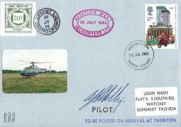 1985 The Royal Mail, West Somerset Railway FDC, 17p Stamp only, Aviation West Helicopter Ltd Cachet, Taunton Somerset FDI, Signed by the Pilot