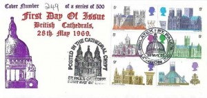 1969 British Cathedrals, Superia Stamp Company FDC, Philatex St.Paul's London EC H/S Posted in the Cathedral Crypt St.Paul's Cathedral Cachet