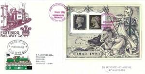 1990 Penny Black Anniversary Miniature Sheet, Festiniog Railway Co. FDC, Caernarfon Gwynedd FDI (in Red), + 25 Railway Letter Stamp Cancelled Festiniog Railway Co. Porthmadog