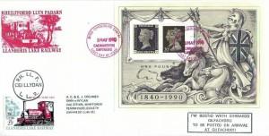 1990 Penny Black Anniversary Miniature Sheet, Llanberis Lake Railway  FDC, Caernarfon Gwynedd FDI (in Red), 25p Railway Letter Stamp Cancelled Ceillydan