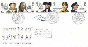 1982 Maritime Heritage, Royal Mail FDC, First Day of Issue Portsmouth H/D, Signed by the current Lord Nelson in 1982, & Marjorie Saynor Stamp Designer
