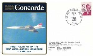 1978 Concorde, British Airways Concorde Cover, Flight Flight of BA 172 New York London Concorde, Air Mail Facility JFK NY 11430 H/S