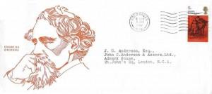 1970, Literary Anniversaries, Charles Dickens Illustrated FDC, Wood Green N22 Wavyline cancel