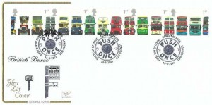 2001 Buses, Cotswold FDC, Push Once First Day of Issue Covent Garden London WC2 H/S