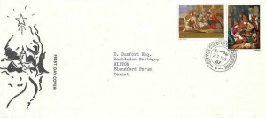 1967 Christmas, Illustrated FDC, Sutton Coldfield Warwickshire cds