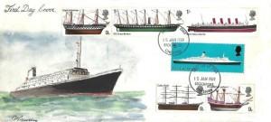 1969 British Ships, M Bawden Hand Painted FDC, Stockport Cheshire FDI