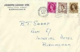 1953, QEII Wilding Definitive Issue, 4d, 1/3d, 1/6d  Joseph Lucas Ltd Birmingham FDC, Birmingham G Cancel
