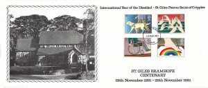 1981 Year of the Disabled, St. Giles Bramhope Centenary FDC, Leeds FDI