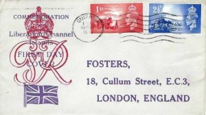 1948 Channel Islands Liberation, Registered Foster London FDC, Guernsey Cancel