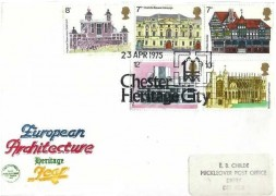1975 Architecture, Philcovers FDC, Chester Heritage City H/S