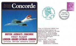 1984 British Airway Concorde First Flight London - Grand Cayman - London, British Airways Cover, Heathrow Airport Hounslow Middlesex H/S
