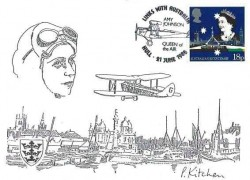 1988 Australian Bicentenary, P. Kitchen Amy Johnston Hull Card, 18p Stamp only, Links with Australia Amy Johnson Hull H/S
