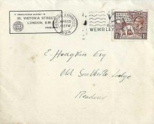 1924 Wembley Exhibition, The British Engineer's Association (BEA) FDC, 1½d stamp only Empire Exhibition Wembley Park 1924 Slogan