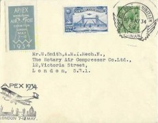 1934 Apex International Air Post Exhibition London 7 -12 May Cover, Air Post Exhibition London SW1 H/S, Blue Exhibition Label