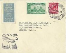 1934 Apex International Air Post Exhibition London 7 -12 May Cover, Air Post Exhibition London SW1 H/S, Green Exhibition Label