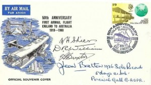 1969 50th Anniversary First Airmail Flight England to Australia 1919 - 1969 Cover, 50th Anniversary Flight RAF Lyneham British Forces 1102 Postal Service H/S, Signed by Jean Batten