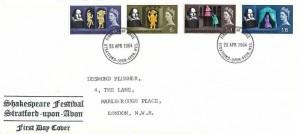 1964 Shakespeare Festival, Shakespeare Festival Display FDC, Phosphor Set, Stratford Upon Avon FDI