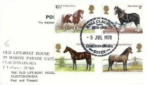 1978 Shire Horse Society, The Old Lifeboat House Clacton on Sea Past & Present Postcard, RNLI Clacton Clacton on Sea Essex H/S