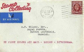 1934 1½d Brown, King George V Photogravure issue, Stamp Collecting 3d FDC, London FS Air Mail Cancel