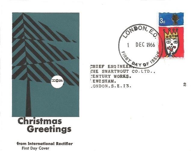 1966 Christmas, International Rectifier IOR FDC, London EC FDI