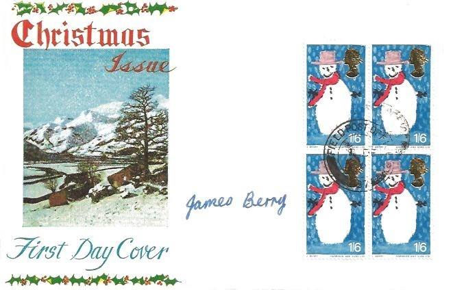 1966 Christmas, Connoisseur FDC, Block of 4 1/6d Stamps, Field Post Office 87 cds, ...
