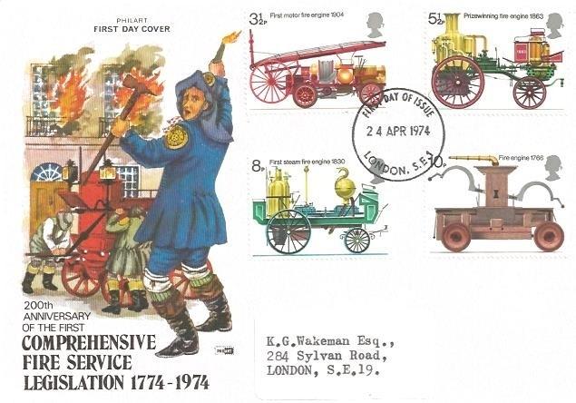 1974 Fire Service, Philart FDC, London SE1 FDI HQ of the ...