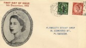 1952 1½d, 2½d QEII Wilding Definitives, Illustrated Plymouth Stamp Shop FDC, Plymouth Devon cds