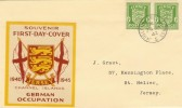 1942 ½d Green Pair Jersey Arms Definitives on Illustrated FDC