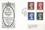 1969, 2/6d, 5s, 10s, £1 High Value Definitives Official Stampex FDC, Royal Horticultural Halls Stampex London SW1 H/S
