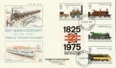 1975 Railways Mercury FDC. 1825 to 1975 Passenger Railway 150th Anniversary Label tied, Basingstoke FDI