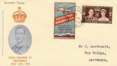 1937 Coronation with Highland Airways Ltd Tied Label Flown FDC. Kirkwall cds