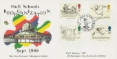 1988 Edward Lear Perronet Thompson School Hull Official FDC, Hull Schools' Reorganisation H/S