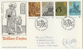 1976 William Caxton PO FDC, Signed by Stamp Designer R A Gay
