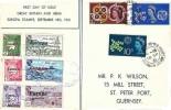 1961 CEPT P K Wilson Card + Herm Island Locals FDC, St Peter Port Guernsey cds