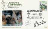 1990 Wimbledon Championship Cover, Signed by the Winners Stefan Edberg & Martina Navratilov