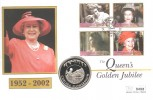 2002 Ascension Islands Queen's Golden Jubilee Coin FDC