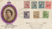 1953 Coronation, set of 7 Lundy Puffin Local stamps 2nd June FDC