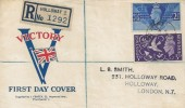 1946 Victory, Neat Registered J Feasey Illustrated FDC, Holloway Road 204 N7 cds