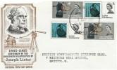 1965 Joseph Lister Ordinary + Phosphor Sets on one FDC, Bristol FDI