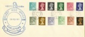 1971 ½p to 9p 12 values on Forces Fleet Mail Singapore FDC, British Fleet Mail 20 cds. RARE