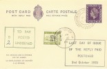 1970 Last Day of Issue of the Reply Paid Postcard. Very Scarce item