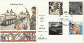 1999 Soldiers' Tale, 4d Post Official Millennium. Signed by Cover Designer FDC