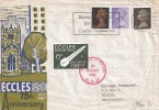 1967 4d, 1/-, 1/9d on Eccles 75th Anniversary Rocket Mail FDC