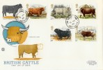1984 British Cattle, Stuart FDC, Cowfold Horsham cds Scarce