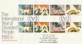 1981 Year of the Disabled, PO FDC, with Both PCP1 Dull & PCP2 Shiny Set of Stamps FDC