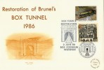 1986 The Restoration of Brunel's Box Tunnel, Doubled with 1999 Travellers' Tale 43p Stamp